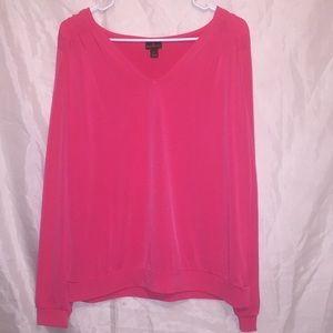 Worthington Hot pink V-neck long sleeved Sz L 🌸